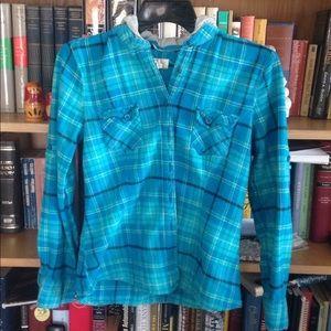 OP plaid Flannel hooded shirt super cute